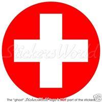 "SWITZERLAND Swiss Air Force Aircraft Roundel 100mm (4"") Vinyl Sticker, Decal"