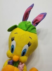 """LOONEY TUNES TWEETY BIRD HOLDING PEEPS CANDY BUNNY EARS 12"""" TALL SMALL STAIN"""