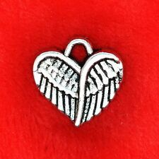 10 x Tibetan Silver Angel Wing Love Heart Charm Pendant Jewelry Making Craft