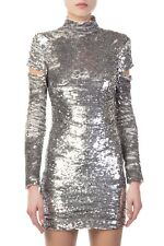 NWT $1495 Helmut Lang Silver Sequin Cutout Sleeve Disco Dress Size Small, S