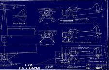 DE HAVILLAND BEAVER  BLUEPRINT DRAWINGS PLANS DHC-2 L-20 U-6 RARE PERIOD 1950's