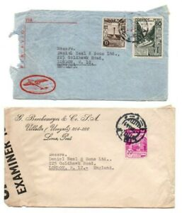 PERU STAMPS & POSTMARKS ON COVERS AIR MAIL ETC POSTED TO UK 1938-1941