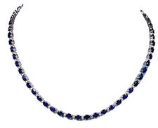 16 inches Natural Blue Sapphire Tennis Necklace made with 925 Sterling Silver