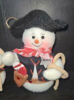 Set Of Six Soft Plush Sheriff Snowman Christmas Ornaments Lasso Gun Hat