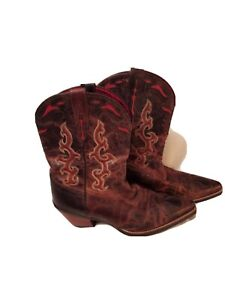 Womens Ariat Cowboy Boots Size 10 B. Brown with Red trim.