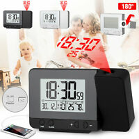 Digital Projector Alarm Clock Weather Calendar Timer LED Snooze USB Dimmable New