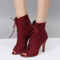Womens Faux Suede Peep Toe Lace Up Summer Ankle Boots High Heels Stilettos Shoes