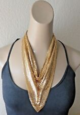 Vintage 70s Whiting Davis Necklace Gold Metal Mesh Bib Scarf NECKLACE Earrings.