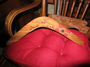 "Vintage Original Wooden Boomerang Handmade Hand Painted & Sighned Light Wood 18"""