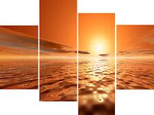 XX Large 4 Panel Set Modern Orange Brown Seascape Canvas Pictures Wall Prints