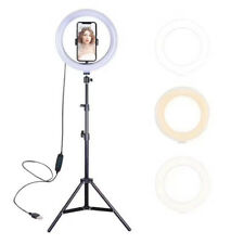 "10"" LED Adjustable 1.4' to 3.3' Tripod Dimmable Ring Light with Phone Stand Kit"