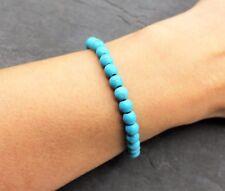 Damen Armband Türkis Edelstein Perlen Blau Perle Elastisch Zierlich Geschenk NEU