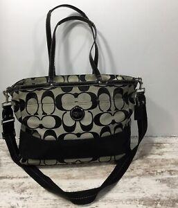 COACH F17443 Black Signature Jacquard Carryall Diaper Bag