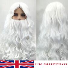 Xmas Santa White Beard & Wig Set Adult Santa Claus Christmas Fancy Dress Costume