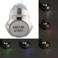 19MM 12V Car Push Button Switch Momentary Engine Start LED Waterproof Aluminum