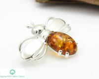 NATURAL BALTIC AMBER STERLING SILVER 925 BROOCH Bee Certified