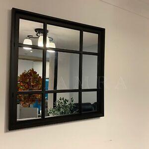 BLACK ENCHANTED WINDOW STYLE WALL MIRROR MANTEL HALLWAY SQUARE WINDOW MIRROR
