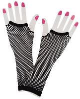 Neon Black 80s 1980s Long Net Gloves Womens Ladies Fancy Dress Costume 9304