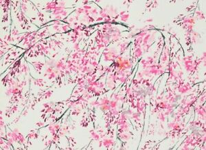 "DESIGNERS GUILD CURTAIN FABRIC DESIGN ""Plum Blossom"" 3.5 METRE PEONY LINEN BLEND"