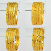 Indian Gold Plated Bracelet Kada Women 4 pcs Bangle Set Fashion Jewelry 2*6,2*8