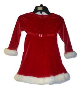 Bonnie Jean Santa Red Glitter Long Sleeved Girls Christmas Holiday Dress 4T