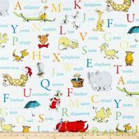 "FQ R.Kaufman Dr. Seuss ABC Alphabet Words Cotton Fabric 18""Lx21""W-BTFQ"