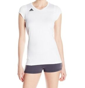 adidas Womens Volleyball Quickset Cap Sleeve Top Jersey, 7594W White, Size XL