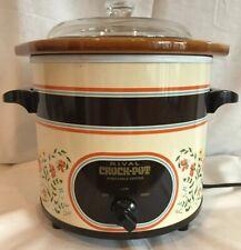 RIVAL CROCK POT 3.5 Qt MODEL 3150/2 Country Floral Almond Slow Cooker Vintage