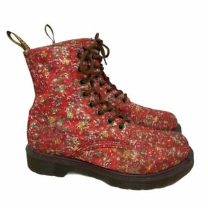 Dr. Martens Air Wair Docs Womens Page Combat Boots Red Floral Lace Up 7