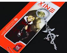 Fullmetal Alchemist Elric's Flamel Cross Symbol + Red Crystals Keychain Key Ring