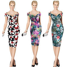 Sexy Women Strap Plunge V Neck Floral Stretch Bodycon Pencil Club Party Dress