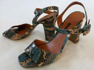 Corello Snakeskin Scales Heeled Sandals Size 7 Reptile Ankle Strap Open Toe