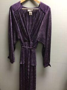 Vintage John Charles Purple Silver Glitter Evening Dress UK 16