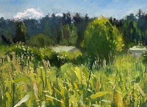SIMON SHAWN ANDREWS oil painting, plein air impressionist landscape sun garden