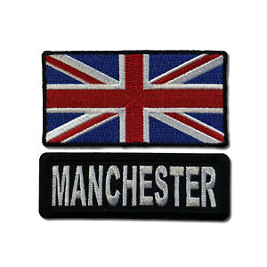 """Embroidered 3"""" Manchester With UK Flag Sew or Iron on Patch Biker Patch Set"""