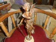 VINTAGE ANTIQUE BRONZE ANGEL BOY WITH  BOW IN HAND EXCELLENT PATINA NICE ART