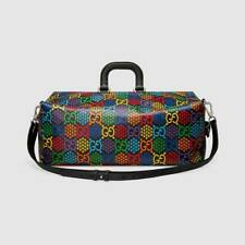 Gucci Psychedelic Black Duffle GG Large Leather Travel Luggage Backpack 1 NEW