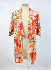Vtg 60s Retro Multi Color Mod Floral Open Front Kimono Jacket Short Robe S JAPAN