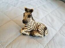 Vintage Stone Critter Lying Down Baby Zebra Figurine Usa