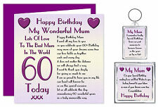 60th Mum Happy Birthday Gift Set - Card, Keyring & Magnet - Lots Of Love Present