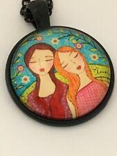 BEST FRIENDS  cabochon necklace GIRLS TOGETHER   UK seller        G8