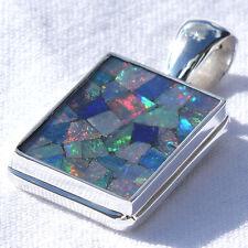 OP16 Opal SILBER 925 30mm Anhänger f. Kette silver 925 Dublette Mosaik pendant