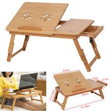 Bambus Laptoptisch Notebooktisch Betttisch Verstellbare Beine Mit Schublade TOP