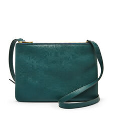 NEW FOSSIL SADIE INDIAN TEAL GREEN PEBBLED LEATHER,2 GOLD ZIP,CROSSBODY,BAG