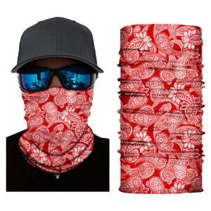 Red Paisley Balaclava Cycling Neck Tube Scarf Snood Biker Face Mask Bandana