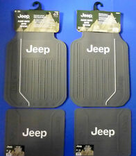 Jeep Elite With Logo Front Rear Gray Rubber Floor Mats 4 Pcs Set Car Truck SUV