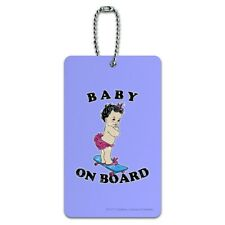 Baby On Skate Board Funny Humor Luggage Card Suitcase Carry-On ID Tag