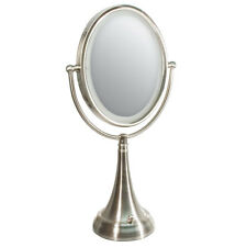 Zadro LED Lighted 10X / 1X Oval Satin Nickel Vanity Magnifying Mirror