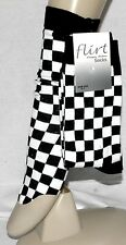 Ladies Girl Ankle Socks Black & White Checked One Size Fit All Size 4-7 A003.98I