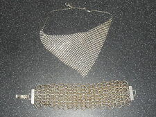 Old Silver Tone Mesh Choker Necklace & Chain Mail Choker Bracelet Jewellery